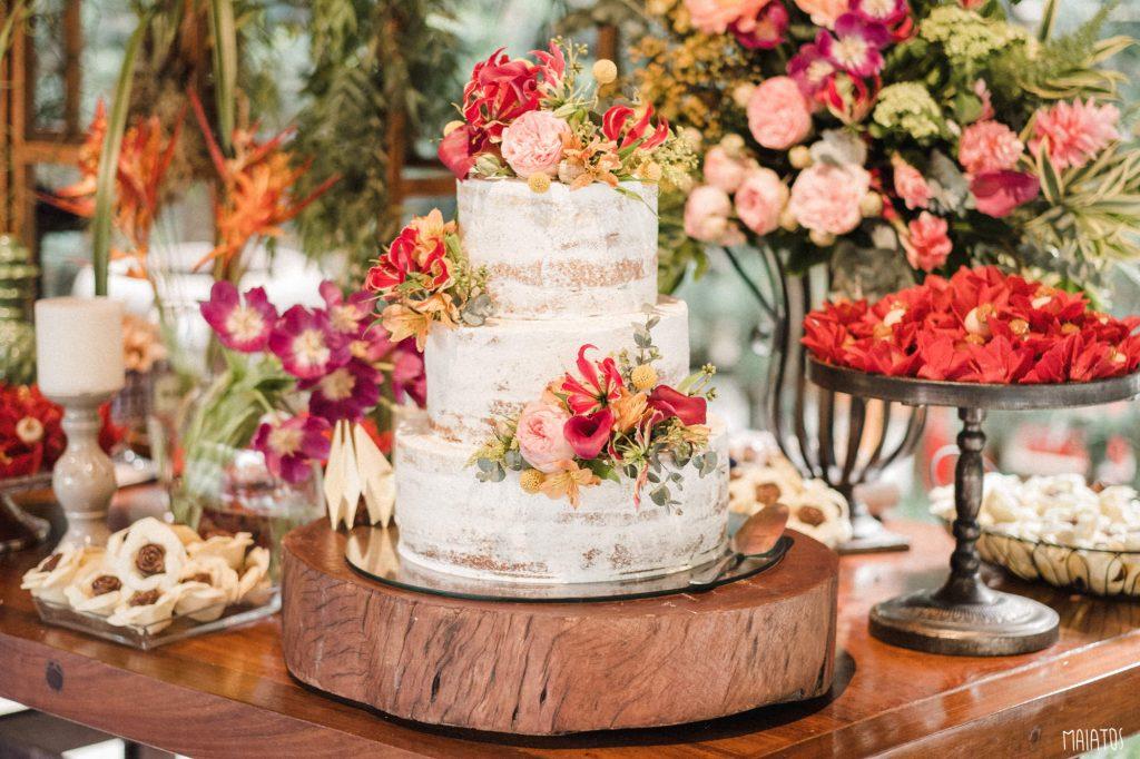 bolo de casamento espatulado semi naked